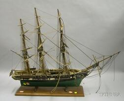 Painted Green and White Three Masted Ship's Model