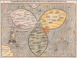 Europe, Figurative Clover Leaf World Map. Heinrich Bunting (1545-1606) Die Gantze Welt in ein Kleberblat.