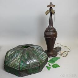 Cast Bronze Arts and Crafts Lamp with Leaded Glass Shade