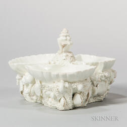 Bow Porcelain White-glazed Shell-molded Sweetmeat Dish