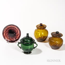 Four Blown Glass Table Items