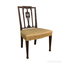 Federal-style Carved Mahogany Square-back Side Chair