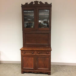 Country Glazed Mahogany Veneer Desk/Bookcase