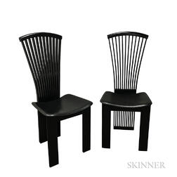 Pair of Pietro Costantini Black Lacquered Chairs