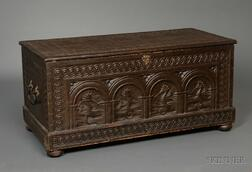Carved Pine Seahorse-panel Dovetail-constructed Storage Box with Wrought Iron   Hardware