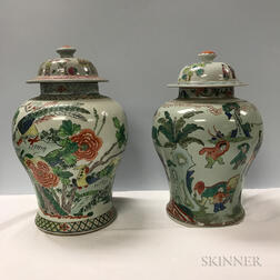 Four Famille Rose Covered Jars