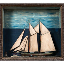 Small Sailboat Shadow Box Diorama