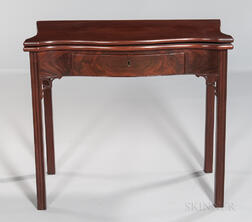 Carved Mahogany Games Table with Drawer