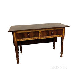 Classical Inlaid Mahogany and Maple Single Drop-leaf Serving Table
