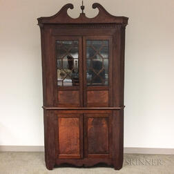 Chippendale-style Glazed Mahogany Corner Cupboard