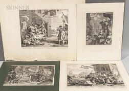 William Hogarth (British, 1697-1764)      Four Engravings: See John the Soldier...
