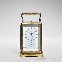 Japy Freres & Cie. Hour-repeating Carriage Clock with Calendar and Center Seconds