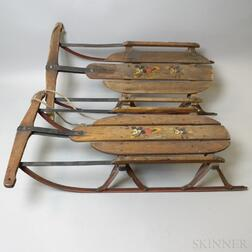 "Two S.L. Allen & Co. ""Mickey Mouse No. 80"" Sleds"