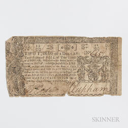 April 10, 1774 Maryland $2/3, MD-65.     Estimate $40-60