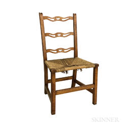 Country Pierced Tiger Maple Rush-seat Side Chair