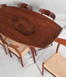 Eight Hans J. Wegner for Carl Hansen & Son CH-23 Chairs, Teak Dining Table, and a Jens Quistgaard Tray