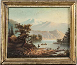 Hudson River School, 19th Century      Mountainous Landscape with Boaters and Fisherman at a River