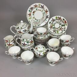 "Thirty-four Pieces of Crown Staffordshire ""Hunting Scene"" Ceramic Tableware"