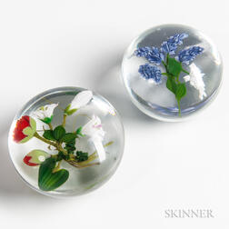 Two Paul Joseph Stankard Floral Paperweights