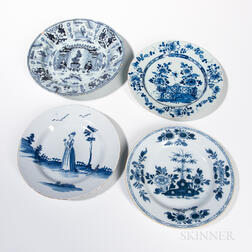 Four Delftware Plates