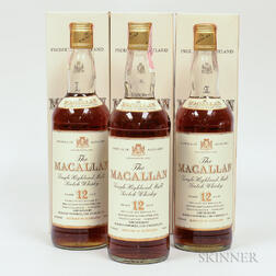 Macallan 12 Years Old, 3 750ml bottles (oc)