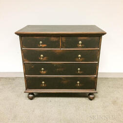 Jacobean-style Black-painted Pine Chest of Drawers