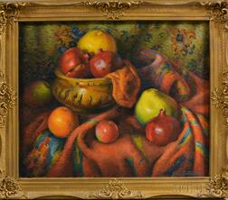 George L. Constantine (American, 20th Century)      Still Life with Fruit and Pomegranates