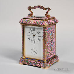 Pink Champleve Repeating Carriage Clock