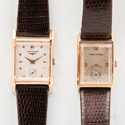 """Two 14kt Gold Men's """"Tank"""" Wristwatches"""