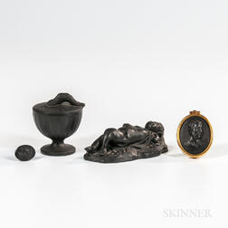 Four Wedgwood Black Basalt Items