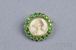Antique 14kt Gold and Demantoid Garnet Portrait Brooch