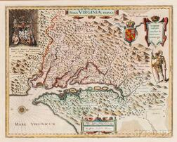 Virginia, Georgia, North & South Carolina. Willem Janszoon Blaeu (1571-1638) Nova Virginiae Tabula.