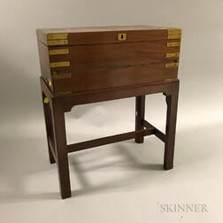 Alex T. Stewart & Co. Brass-bound Mahogany Lap Desk on Later Stand