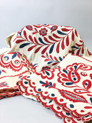 Three Pieces of Red and Blue Embroidered Linen Textiles