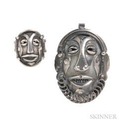 Silver Mask Brooch and Ring