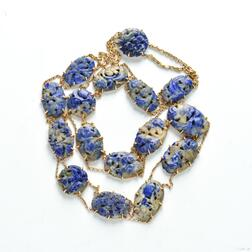 18kt Gold and Carved Lapis Necklace
