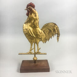 Small Full-body Gilt Sheet Copper Rooster Weathervane