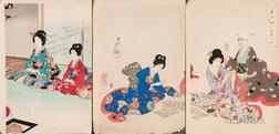 Toyohara Chikanobu (1838-1912), Three Woodblock Prints