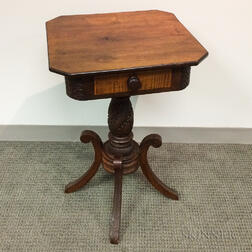 Classical Carved Mahogany and Maple One-drawer Stand