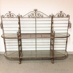 Large Scrolled Wrought Iron Baker's Rack