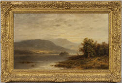 Charles D. Hartley (Anglo/American, 19th/20th Century)      Landscape Vista with a Quiet River