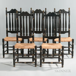 Set of Five Black-painted and Gilt Bannister-back Side Chairs