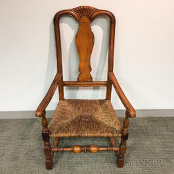 Queen Anne-style Carved Maple Armchair
