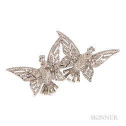 Vintage Rhinestone Bird Dress Clips/Brooch, Trifari