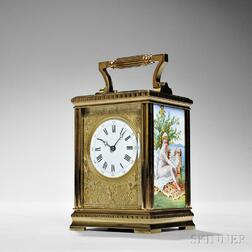 French Hour-repeating Carriage Clock with Decorated Panels