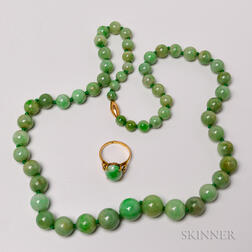 Beaded Jadeite Necklace and 18kt Gold and Jadeite Ring