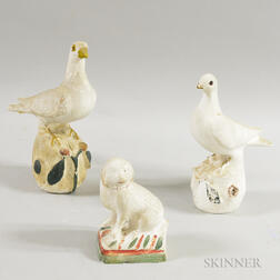Two Chalkware Doves and a Spaniel