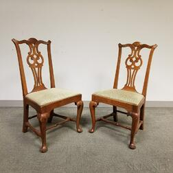 Pair of Chippendale-style Carved Cherry Side Chairs