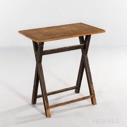 Small Black-painted Pine Sawbuck Table