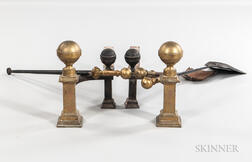 Pair of Brass and Iron Belted Ball Andirons and Tools